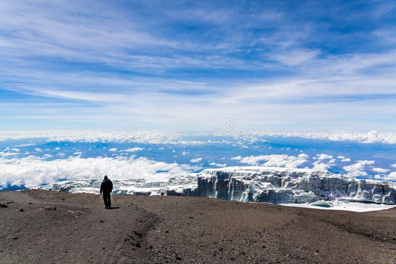 Smeltende gletsjer in Kilimanjaro-berg royalty-vrije stock foto's