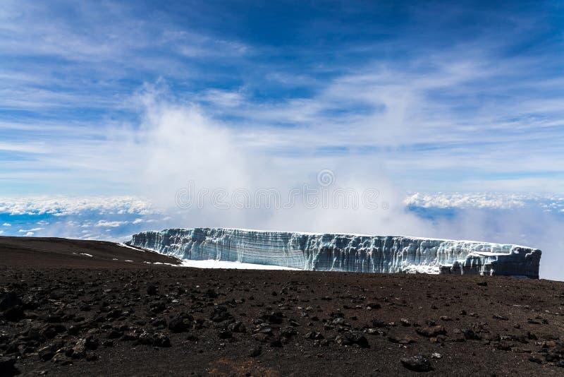 Smeltende gletsjer in Kilimanjaro-berg royalty-vrije stock foto