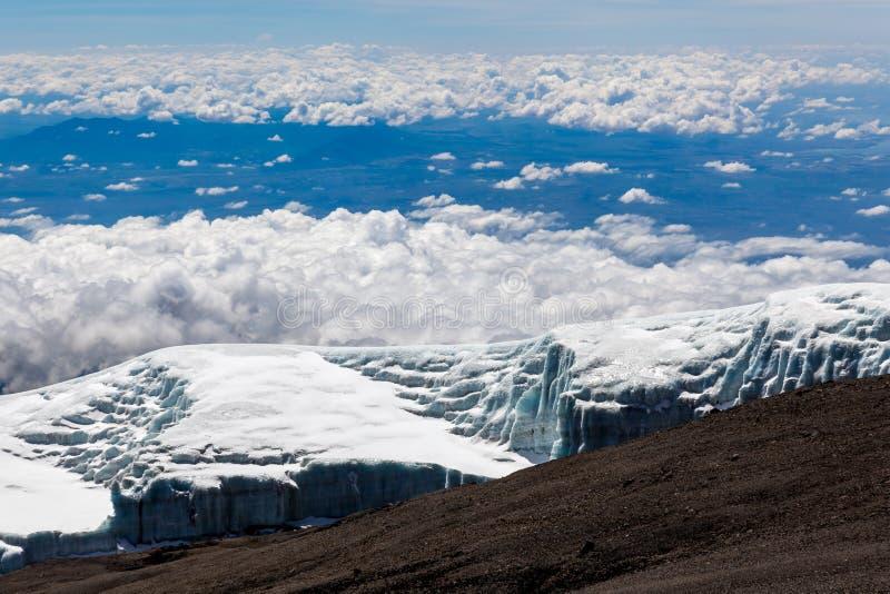 Smeltende gletsjer in Kilimanjaro-berg royalty-vrije stock fotografie