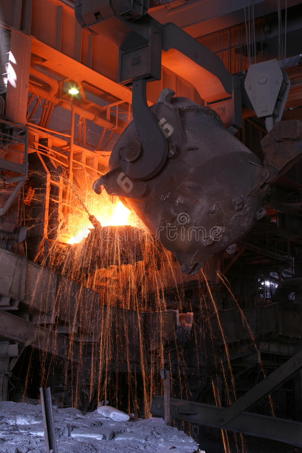 Smelting of the metal stock photos