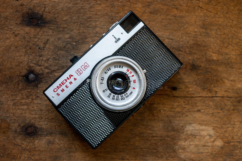 Smena 8m. STARA ZAGORA, BULGARIA 17.02.2017: Camera Smena 8m on 17.02.2017 in Stara Zagora, Bulgaria Smena 8m - Soviet compact camera from 1970 to 1995 in 21 stock photography