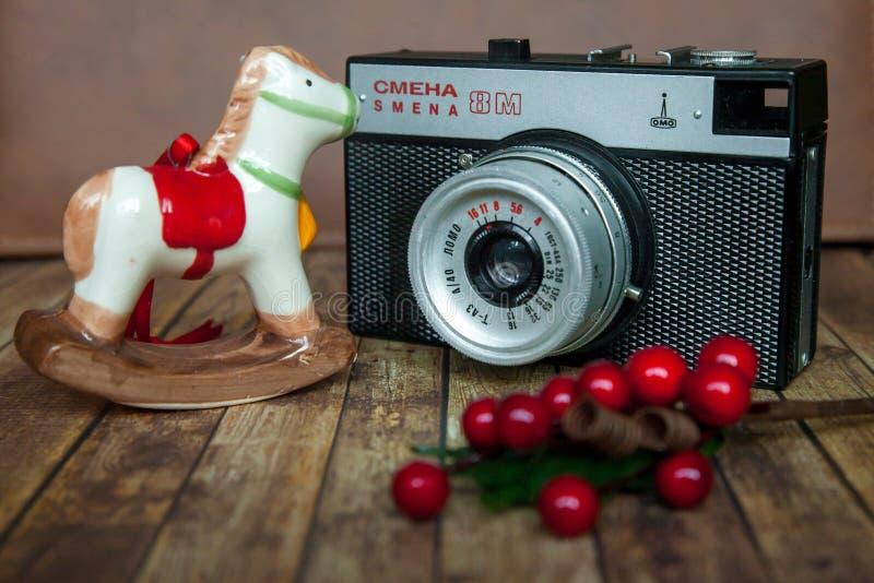 Smena 8m. STARA ZAGORA, BULGARIA 17.02.2017: Camera Smena 8m on 17.02.2017 in Stara Zagora, Bulgaria Smena 8m - Soviet compact camera from 1970 to 1995 in 21 royalty free stock photo