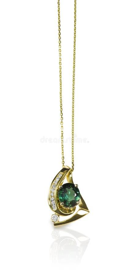 Smeraldo e Diamond Pendant Necklace verdi immagine stock libera da diritti
