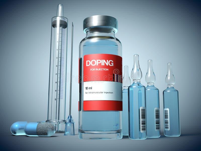 Smerend substanties in een flesje, in ampules en in capsulevorm en een injectiespuit royalty-vrije illustratie