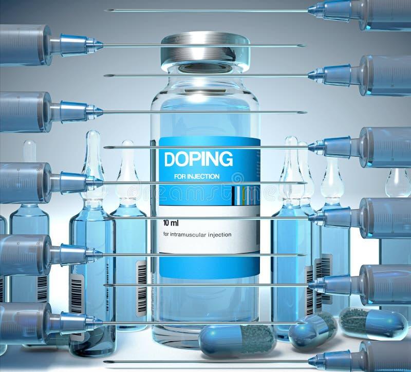 Smerend substanties in een flesje, in ampules en in capsulevorm en een injectiespuiten royalty-vrije illustratie