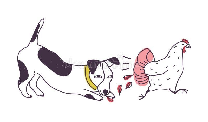 Smerige hond die die kip achtervolgen op witte achtergrond wordt geïsoleerd Ongehoorzaam puppy of achtervolgende, vangende en bij vector illustratie