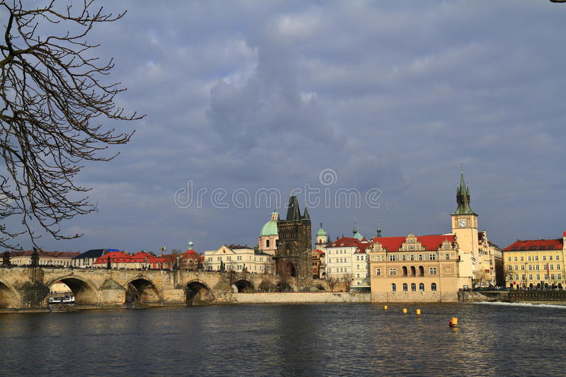 Smetana Museum, Prague, Czech Republic. Smetana Museum with residential houses and Old Town Water Tower, Prague, Czech Republic stock photo
