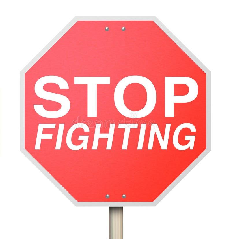 Smetta di combattere il Trattato rosso di tregua di pace di cessate il fuoco del segno di traffico stradale royalty illustrazione gratis