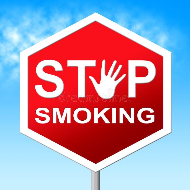 Smetta di fumare il segnale di pericolo ed il pericolo di mezzi illustrazione di stock