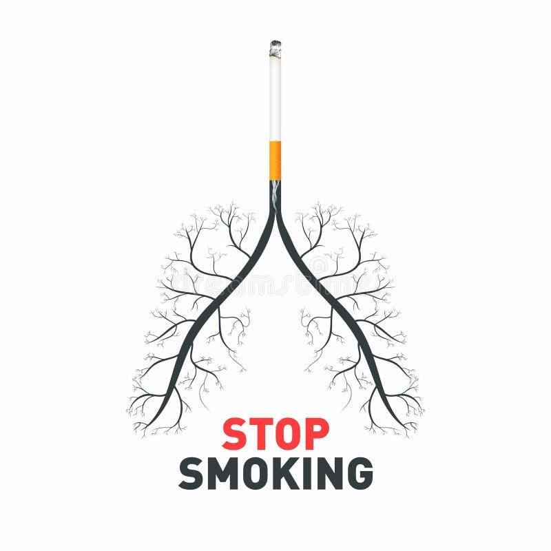 Smetta di fumare Sigaretta con i polmoni umani Consapevolezza non fumatori, veleno e malattie della sigaretta royalty illustrazione gratis
