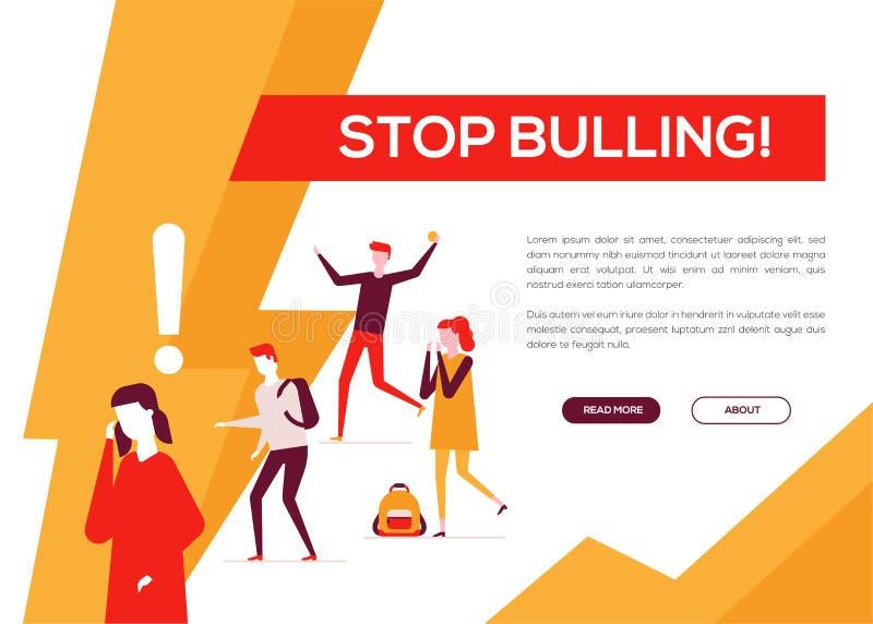 Smetta di opprimere - insegna piana variopinta di web di stile di progettazione illustrazione di stock