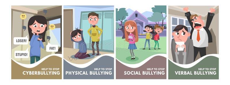 Smetta di opprimere l'insieme dei manifesti Tipi d'oppressione concetti nello stile del fumetto verbale, sociale, fisico, cyberbu illustrazione vettoriale