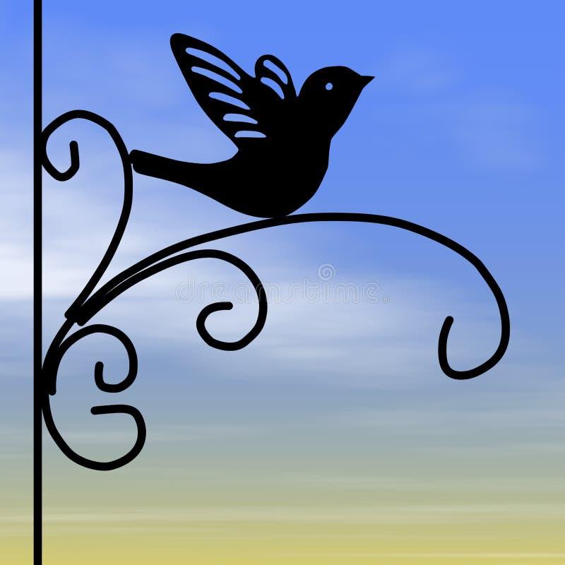 Smidesjärnkonturfågel, soluppgånghimmel royaltyfri illustrationer