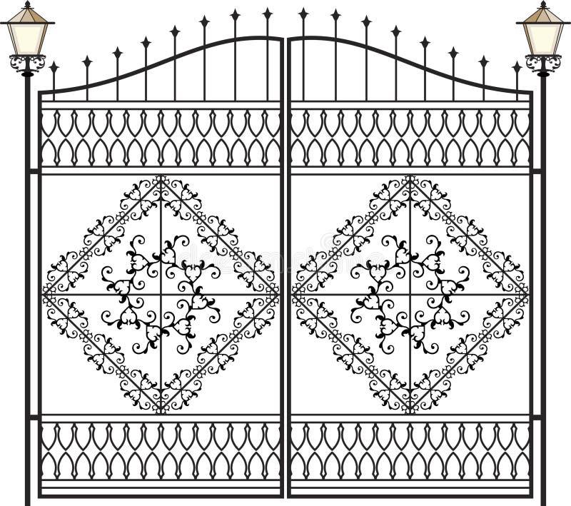 Smidesjärnlampa, lykta royaltyfri illustrationer
