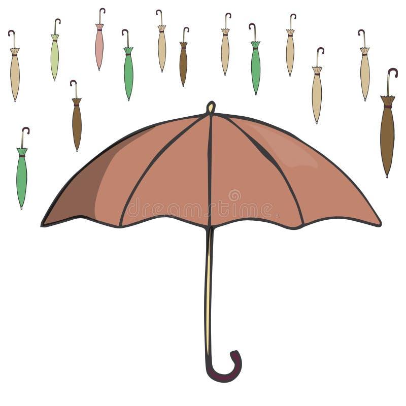 Smilar simple de la textura del color del elemento de la lluvia del dibujo del clip art del ejemplo del paraguas en el fondo blan stock de ilustración