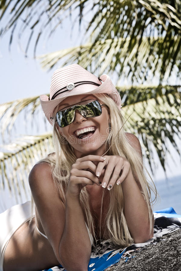 Smile. Portrait of young pretty woman in summer environment royalty free stock photo