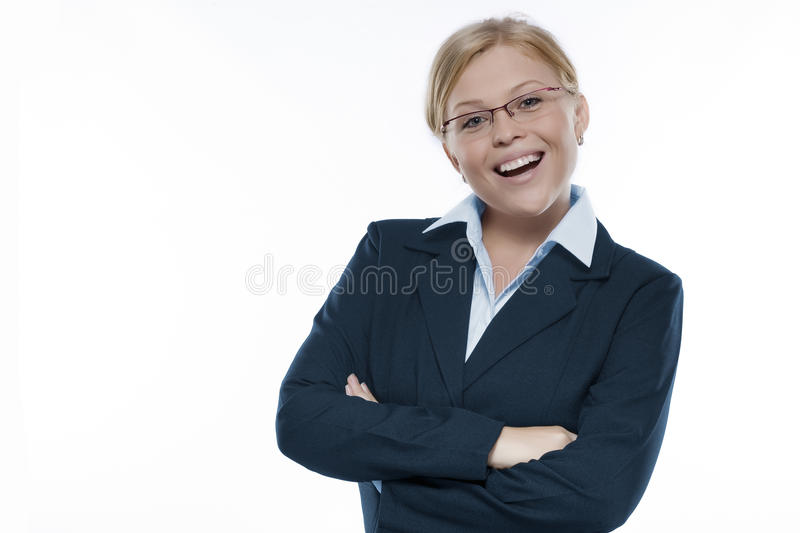 Smile. Portrait of young beautiful woman on white back stock images