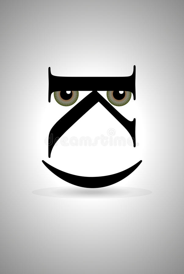 Smile. Emoticon image with eyes through silhouette letters stock illustration