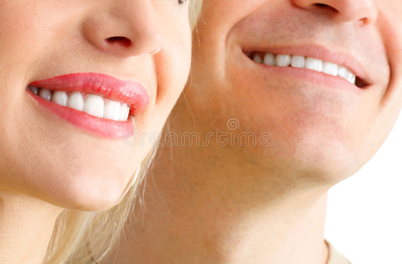 Smile. Man and woman smile. Over white background