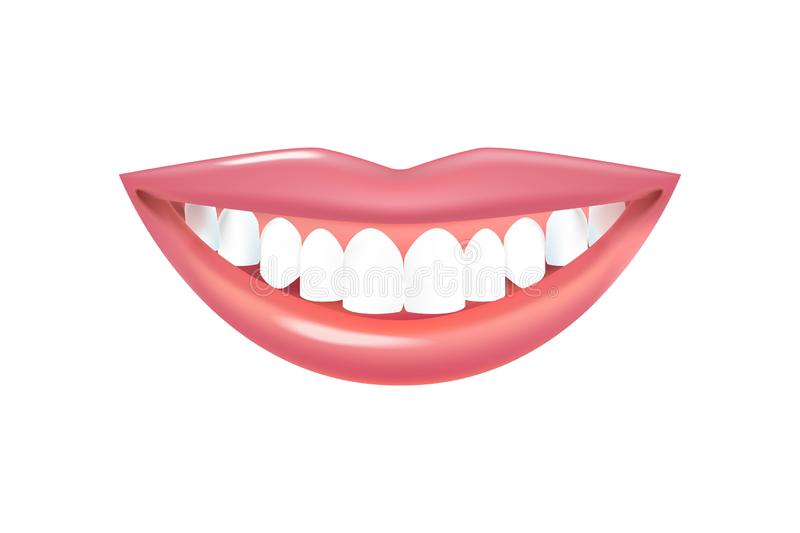 Smile with beautiful white teeth. Realistic Vector Lips with Teeth stock illustration