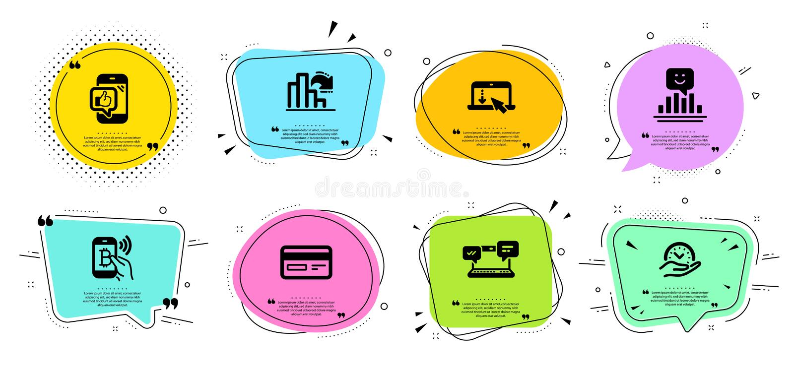 Smile, Bitcoin pay and Safe time icons set. Decreasing graph, Credit card and Internet chat signs. Vector. Smile, Bitcoin pay and Safe time line icons set. Chat royalty free illustration