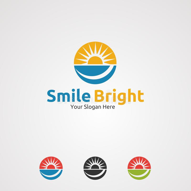 Smile bright with circle sun logo vector, icon, element, and template for company royalty free illustration
