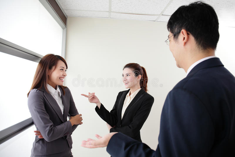 Smile business team. Speak to her workmate office, asian royalty free stock photography