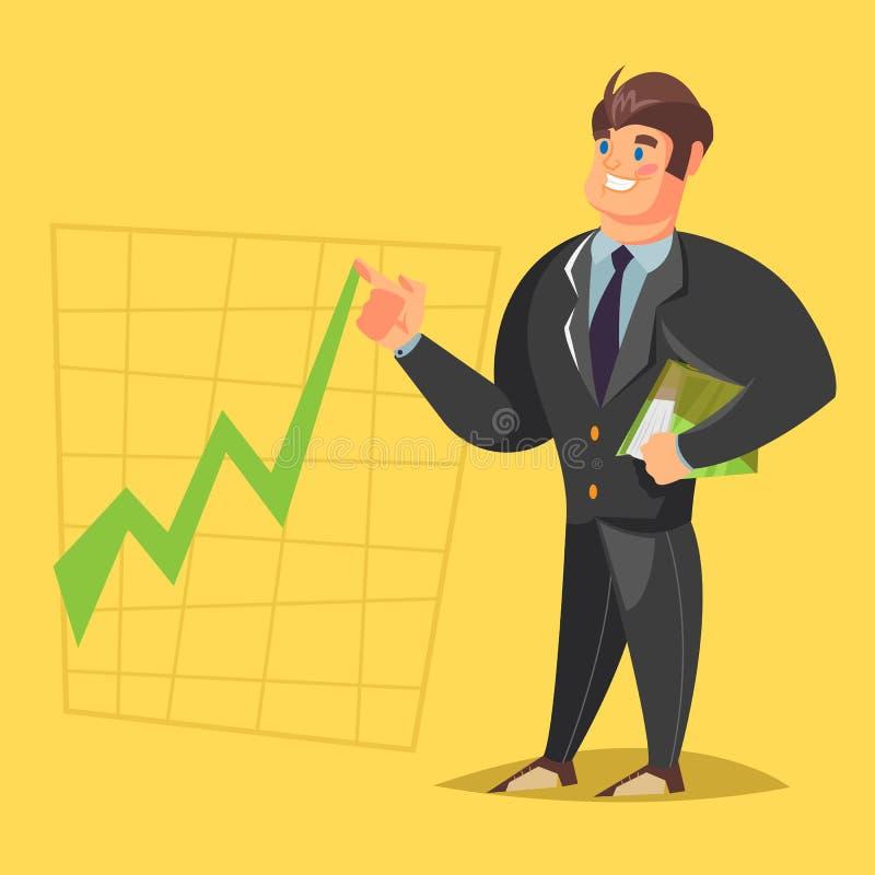 Smile businessman gives a presentation. Cartoon character. Vector illustration stock photo