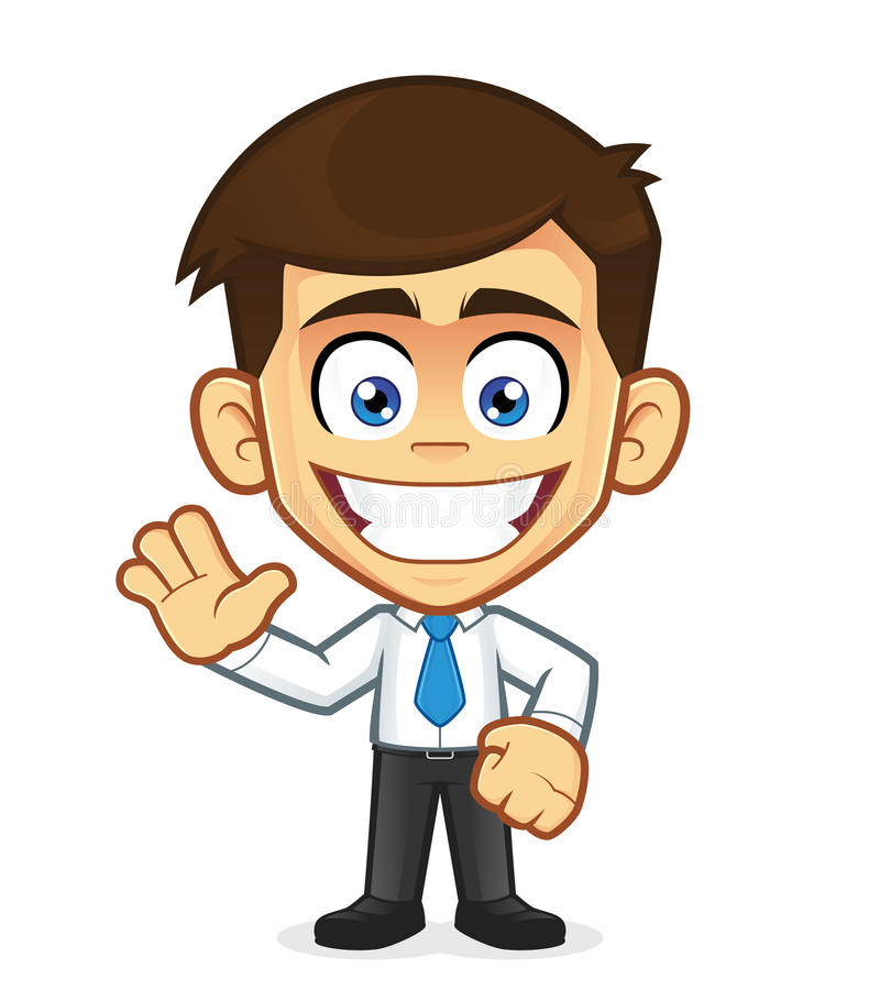 Consultant Clip Art : Smile businessman waving stock vector illustration of