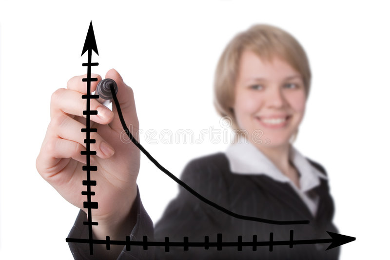 Smile businesswoman. Draw blavk graph royalty free stock image