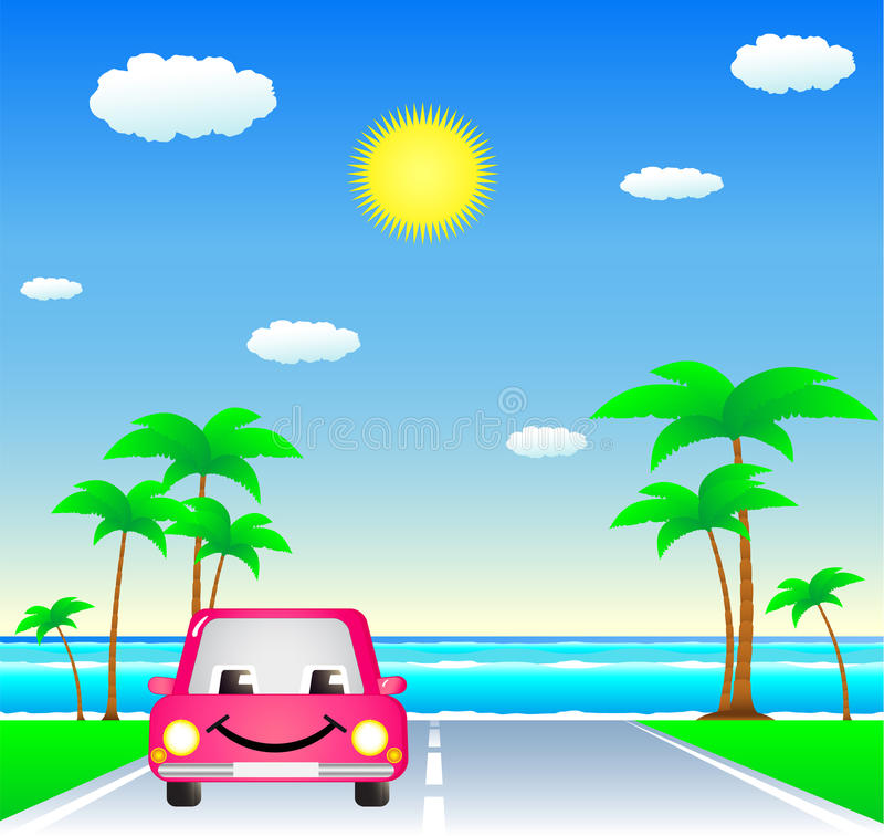 Download Smile car on resort road stock vector. Image of beach - 24100244