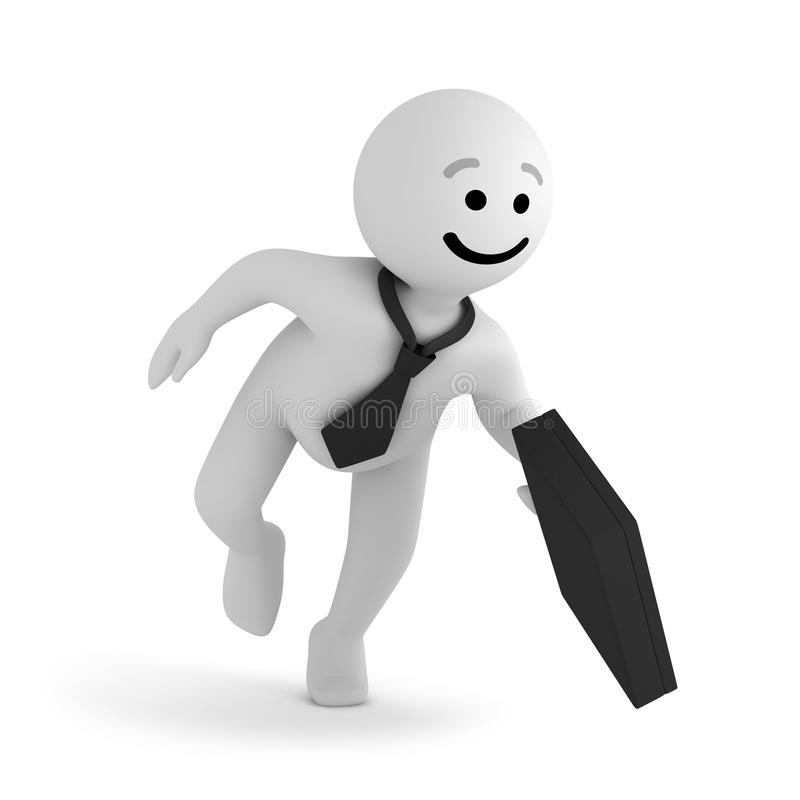 Smile character businessman with briefcase. A funny white smile character businessman walk with a black briefcase stock illustration