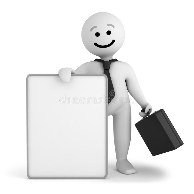 Smile Character Businessman Stay With Banner Royalty Free Stock Photos