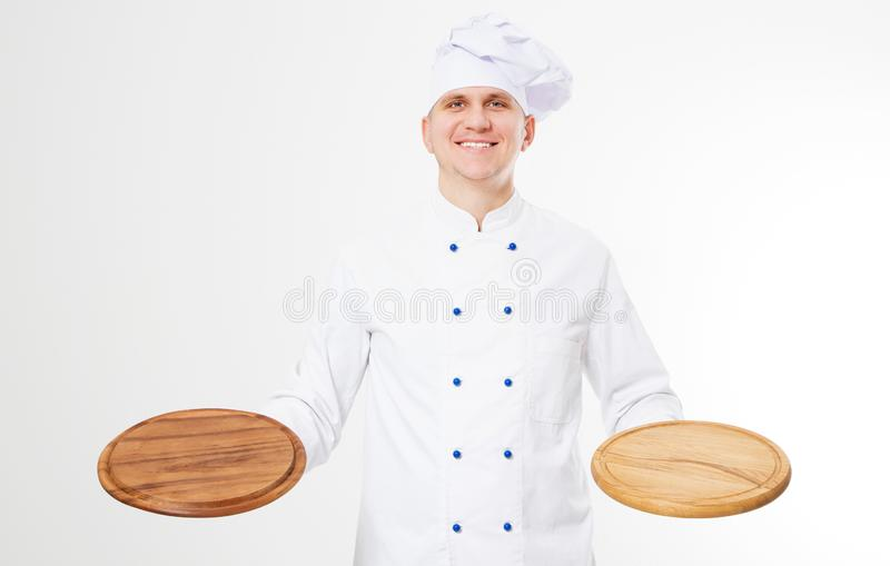 Smile chef holding empty pizza desk isolated on white background,food and drink concept stock photos