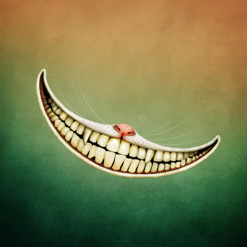 Smile Cheshire Cat. Fantasy illustration or poster fairy tale story of Wonderland with Smile Cheshire Cat. Computer graphics royalty free illustration