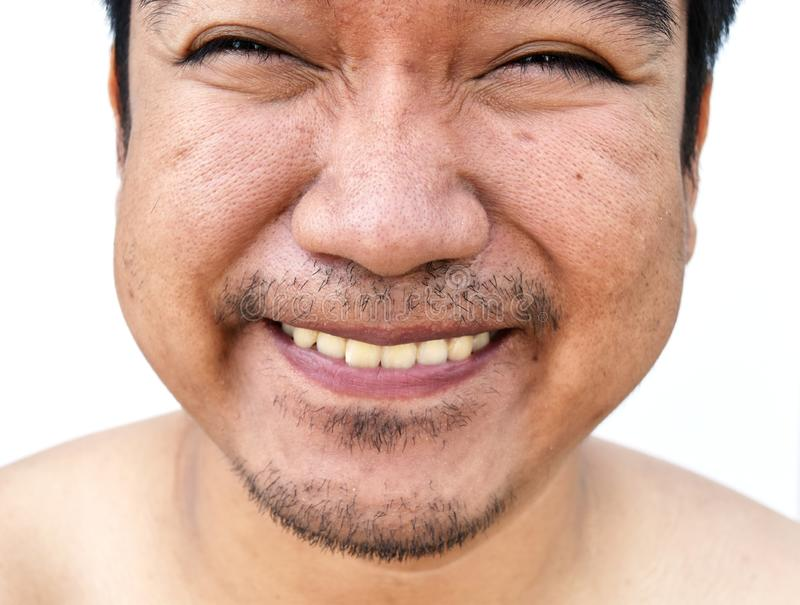 Smile face of asian man on white backgroun stock images