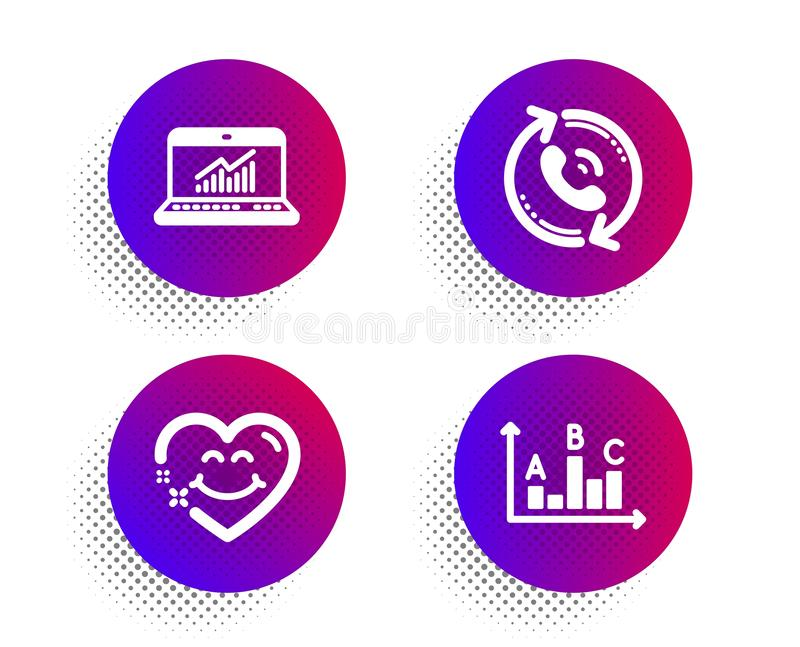Smile face, Call center and Online statistics icons set. Survey results sign. Vector. Smile face, Call center and Online statistics icons simple set. Halftone stock illustration