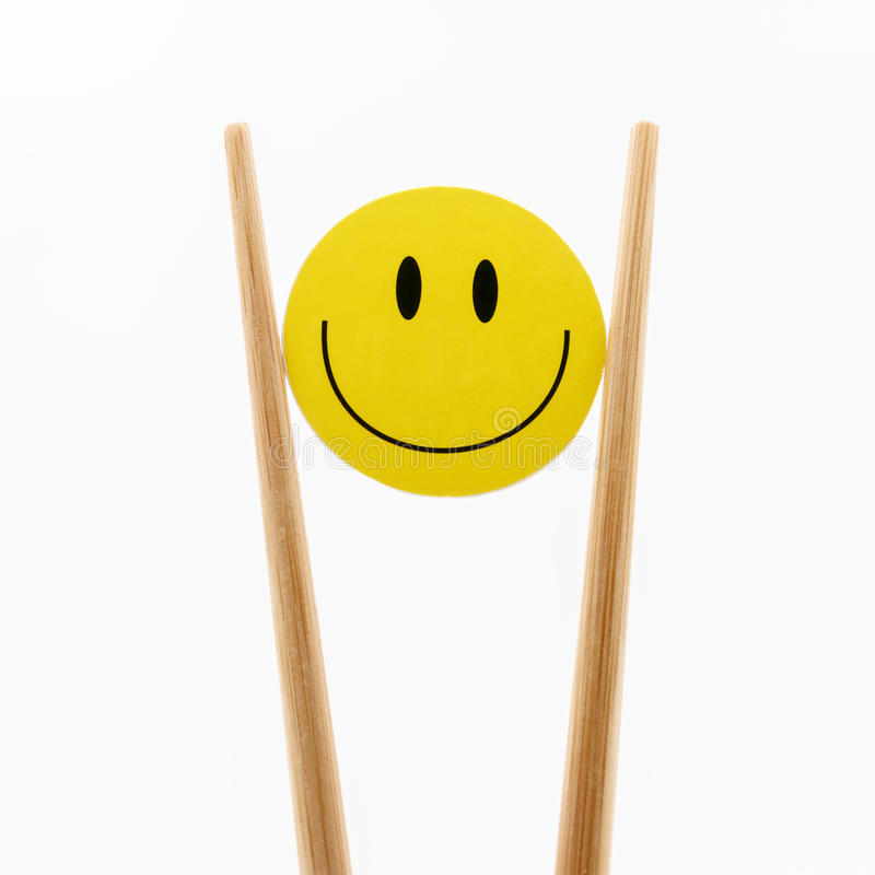 smile face chopsticks royalty free stock image