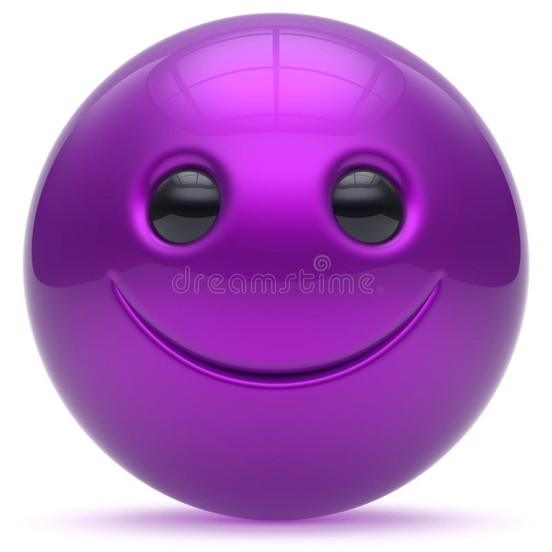 Smile face head ball purple cheerful sphere emoticon cartoon. Smiley happy decoration cute blue. Smiling funny joyful person laughing joy character toy good royalty free illustration