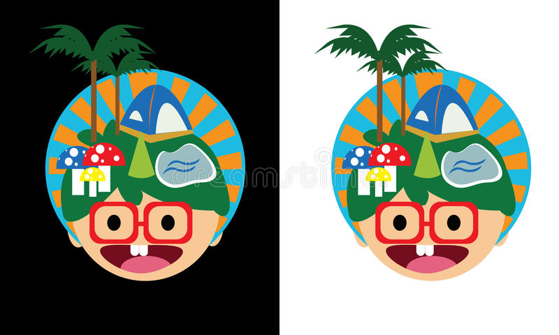 Smile face holiday village stock photo