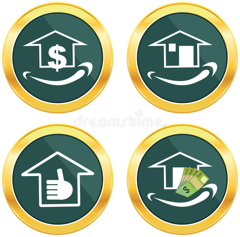 Smile face sign icon. Happy smiley home, investment. vector illustration