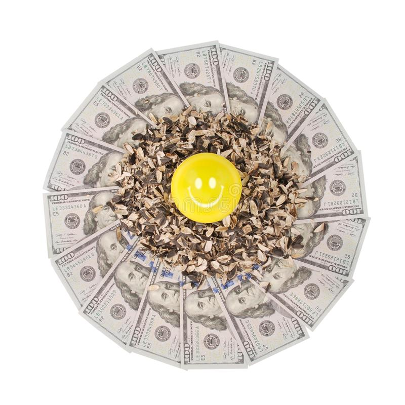 Smile faces and sunflower husk on mandala kaleidoscope from money. Abstract money background raster pattern repeat mandala circle royalty free stock photo