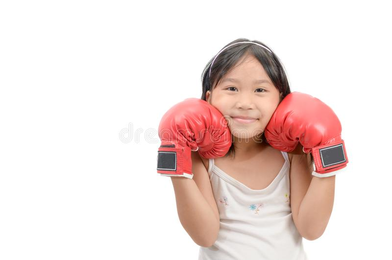 Smile girl fighting with red boxing gloves isolated. On white background, exercise and healthy concept stock photos
