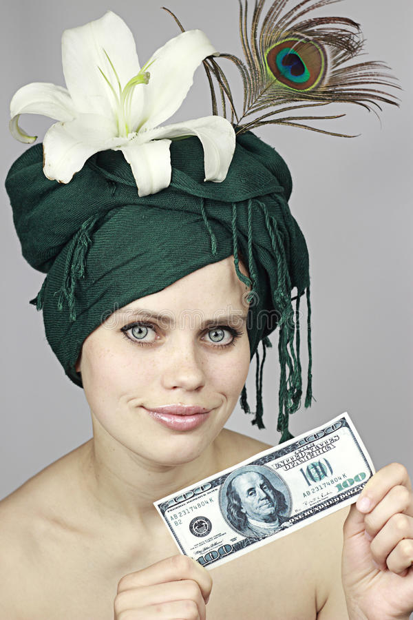Smile of the girl with money royalty free stock image