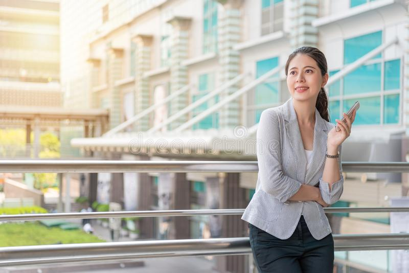 Smile happy office woman looking far away royalty free stock image