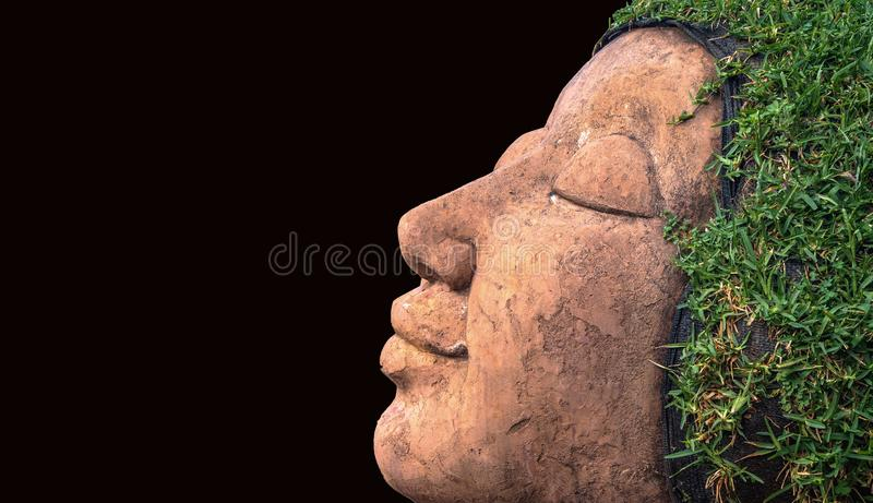 Smile human face hair from grass in black background.  stock image