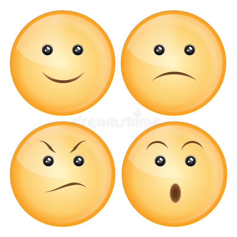 Smile icon set. Set of four smile icon isolated on white: happy, sad, angry, surprise. EPS available stock illustration