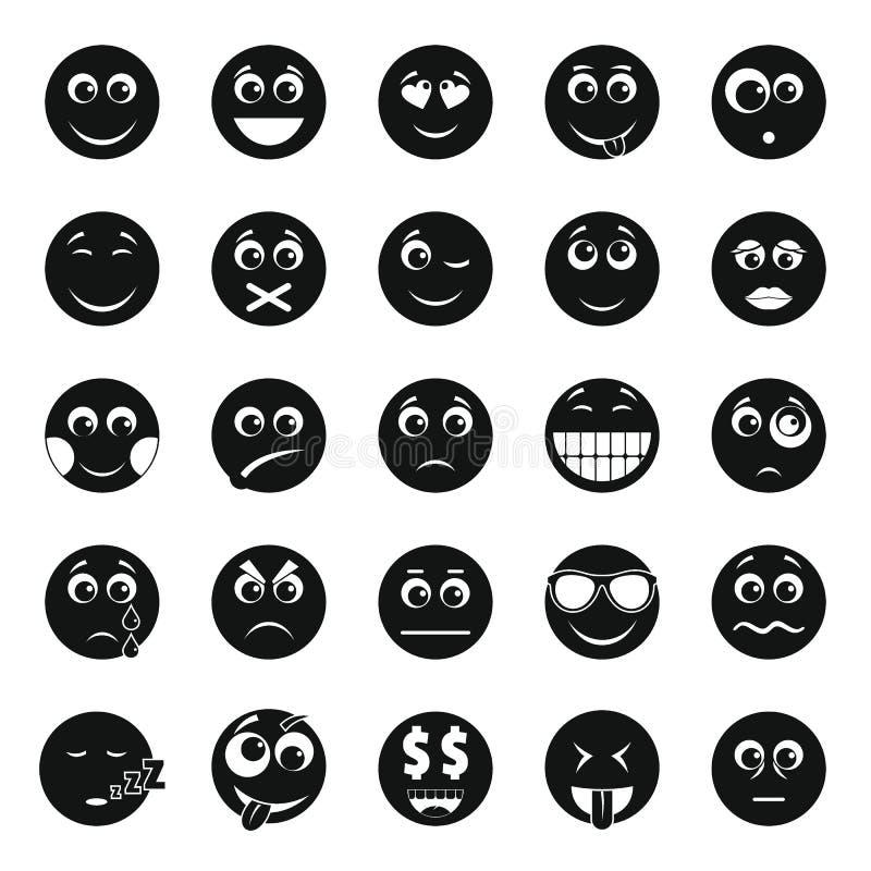 Smile icon set, simple style royalty free illustration