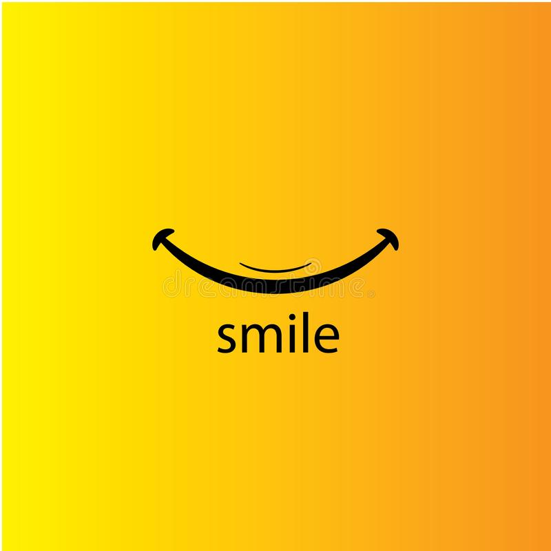 Smile icon template design. Smiling emoticon vector logo on yellow background. Face line art style - Vector vector illustration