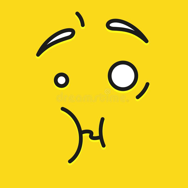 Smile icon template design. Unpleasantly surprised emoticon vector logo on yellow background. Face line art style. vector illustration